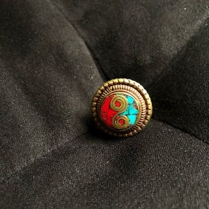Jewelry - Turquoise and Coral Stone Inlaid Ring Size 6.5